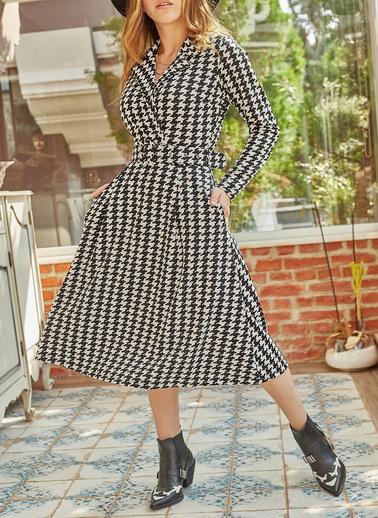 XHAN Kazayağı Desenli Kemerli Elbise 9Yxk6-41914-02 Siyah